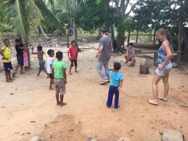Playing with the kids from the village
