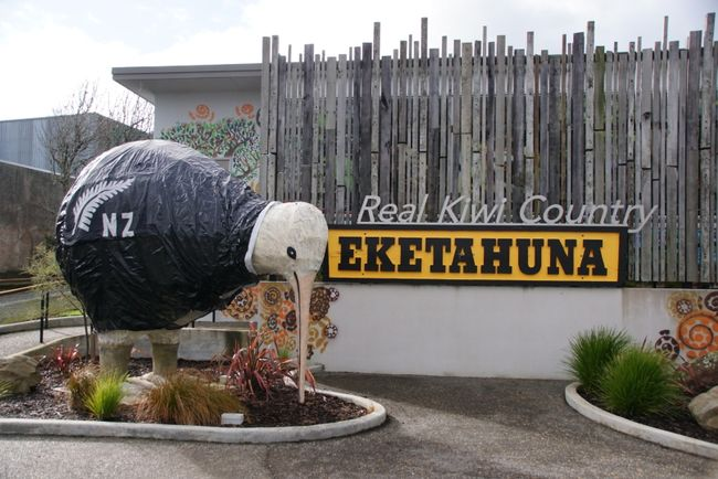Kiwi-Statue im Winter