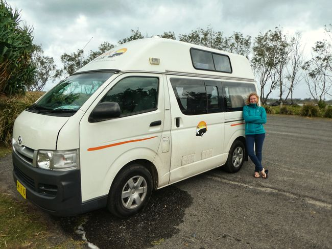 Posing in front of the campervan