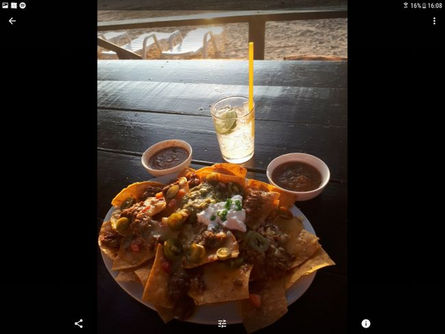 Sunset with yammy Nachos