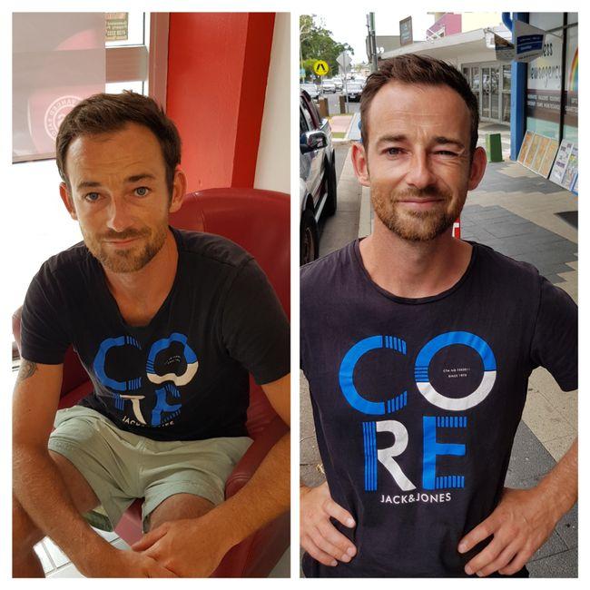 Meykel vor und nach dem Friseurbesuch